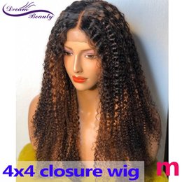 brown curly wig highlights Canada - Blonde Highlight Wig 4X4 ClosureWig Curly 180% Ombre Colored Lace Closure Human Hair Wigs Brazilian Remy PrePlucked Dream Beauty