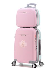 spinner pink Australia - Girls ABS Fresh Expandable Luggage Women Color Block Suitcase with Cosmetic Case Spinner Zipper Travel Luggage