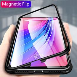 tempered glass metal frame NZ - Magnetic Flip Case For Vivo V15 Pro Case Clear Tempered Glass Metal Frame Back Cover For Vivo V15 Pro Protective Case Shell Capa