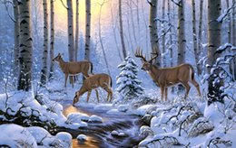 $enCountryForm.capitalKeyWord Australia - Landscape Art Deer In The Winter Forest,Oil Painting Reproduction High Quality Giclee Print on Canvas Modern Home Art Decor