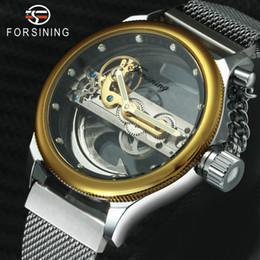 $enCountryForm.capitalKeyWord Australia - FORSINING Bridge Auto Mechanical Watch Men Fashion Classic Magnet Mesh Strap Golden Chain Crown Unique Design Wristwatch SLZe113