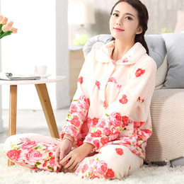 0081ebf5c Women Pajamas Sale NZ - Hot Sale Winter Flannel Women Pajamas Set Female  Turn-down