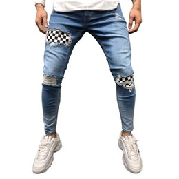 gothic jeans Australia - Adisputent Men Denim trousers fashion badge worn patchwork skinny Slim Fit Zipper Denim Pant Destroyed Gothic Style Ripped jeans