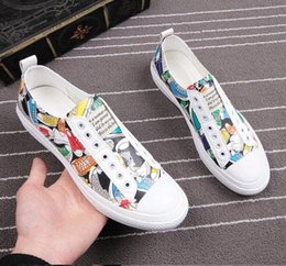 casual grooms shoes NZ - European Men's Casual Shoes Men Canvas Graffiti printing shoes driving shoe zapatos de caballero Groom shoes chaussure homme LF11