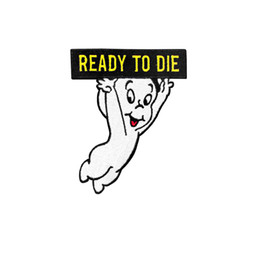 $enCountryForm.capitalKeyWord Australia - Cartoon Ghost READY TO DIE Embroidery Iron On Patches For Shirt Bag Clothes DIY Custom Design Applique Free Shipping