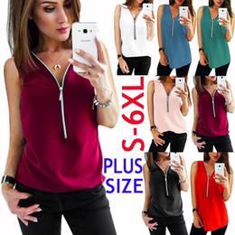 $enCountryForm.capitalKeyWord Australia - Women Casual Sleeveless T-shirts Deep V-neck Tops Zipper Vest Pullover Solid Color Shirts Blouse Chiffon Tank Plus Size S-6XL
