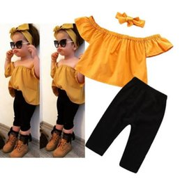 Headbands Bow Australia - 2019 Fashion Summer baby girl clothes Girls Outfits Tops+trousers+bows headband Girl Suit Kids Sets Toddler Clothes kids clothing