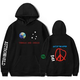 Discount mens short sleeve sweatshirts - Astroworld Thrills and Chills Printed Mens Brand Designer Hoodies Hip Hop High Street Sweatshirt Thin Elastic Casual Mal