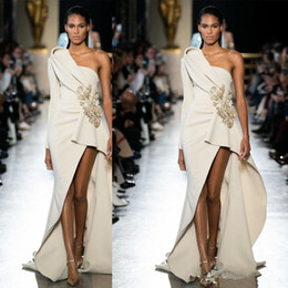 One shOulder white shOrt dress cheap online shopping - 2020 Elie Saab Sexy Cheap Evening Dresses Satin Front Split Fashion One Shoulder Prom Gowns Party Dress Red Carpet Runway Dress