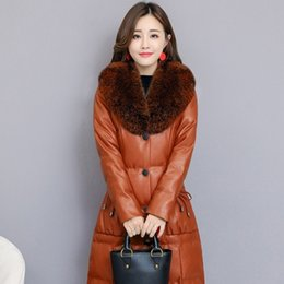 55f97d12ef6 Faux Fox Fur Collar PU Leather Jacket Womens Elegant Luxury Plus Size S-4XL  Ladies Long Parkas Coat Slim Fit Warm Winter Clothes
