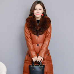 leather coats fur collars UK - Faux Fur Collar PU Leather Jacket Womens Elegant Plus Size S-4XL Ladies Long Parkas Coat Slim Fit Warm Winter Clothes
