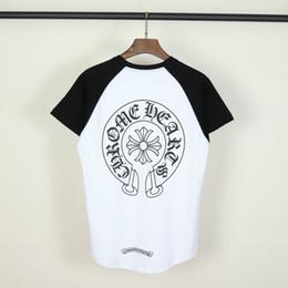 horseshoe crosses 2019 - New mens designer t shirts Chromes hearts Cross horseshoe pattern print t shirt classic brand women tshirt White raglan