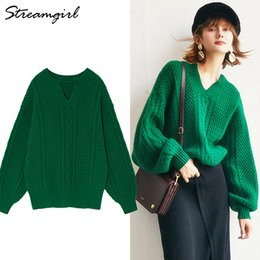 2019 Spring Cashmere Sweater Female Knitted Pullover Women Jumper Green Wool  Retro Sweater Women Batwing Sleeve Loose Pullover a8844193e