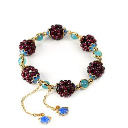 $enCountryForm.capitalKeyWord Australia - Gold Color Garnet Natural Stone Beaded Bracelets Handmade Lace-up Adjustable Charm Bracelets For Women Jewelry