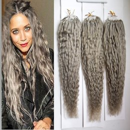 light brown blonde highlights 2019 - Gray Hair Extensions kinky curly Micro Loop Human Hair Extensions 300s Micro Loop Ring Hair Highlight Color Remy Pre Bon