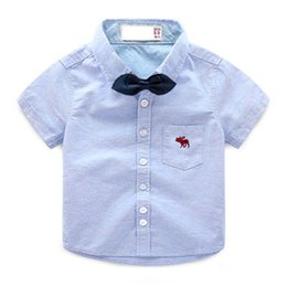 Toddler Boy 4t Australia - Baby Boy Shirt Summer Casual Short Sleeve Kids Shirts Boys With Bow Cotton Toddler Clothes For Children