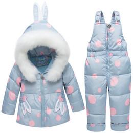 Chinese  Winter Children's Fur Girl's down Jackets suit fashion warm Rabbit ear hat snowsuits Outerwear Coat+suspender jumpsuit manufacturers