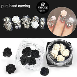 white rose stores Australia - 5pcs box Pure Hand Carving White Rose Black Rose Polymer Clay Nail Art Decorations Nail Salon Store