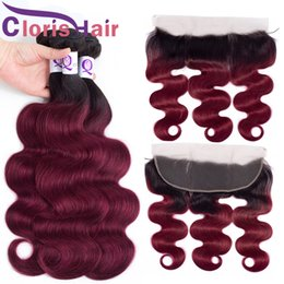 ombre hair frontal 2020 - 1B Burgundy Ombre 13x4 Lace Frontal With 3 Bundles Brazilian Virgin Body Wave Human Hair Extension Colored Wavy Burgundy