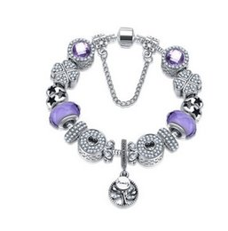 $enCountryForm.capitalKeyWord Australia - Fashion 925 Sterling Silver Purple Murano Glass Crystal European Charm Beads Pendant Fits Snake Chain Charm Bracelets Bracelet Jewelry DIY