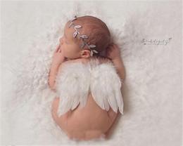 Feathered Headband Baby NZ - Baby Angel Wing + Chiffon Leaf headband Photography Props Set newborn Pretty Angel Fairy white feathers Costume Photo headband