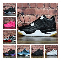 rubber cat shoes girls Australia - Kids 4 Bred Cactus Jack Pure Money Basketball Shoes 4s Children Boy Girls Pink White Alternate 89 Black Cat Sneakers size 28-35 x140