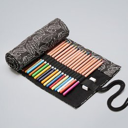 brush bag roll Australia - Canvas Art Darwing Pencil Bags School Office Supplies Stationery For Kid Painting Black Leaves Brush Pen Roll Pencilcase Wrap