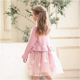 Girls cotton knit dresses online shopping - Kids Luxury Dress Girls Brand Knitted Mesh Puff Princess Dress Childrens Swan Print Skirt Solid Color Lace Dresses Girl Clothing New Arrival