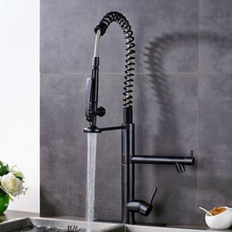 Single Hole Pull Down Kitchen Faucet Australia - Pre Rinse Kitchen Sink Faucet Spring Pull Down Dual Spout Hot and Cold Water Kitchen Mixers Swivel Side Spout Handsfree Sprayer