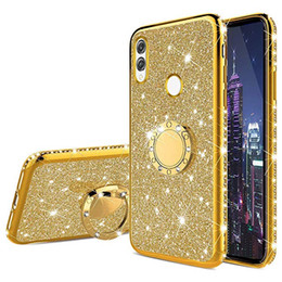 Black ring pink diamonds online shopping - For Samsung Galaxy A10S A20S Ultra Slim Glitter Bling Diamond Luxury Plating Silicon TPU Soft Cover with Ring Stand Holder