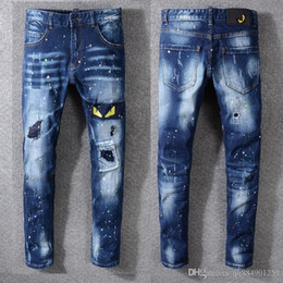 Wholesale eye embroidery patch for sale - Group buy 19ss Summer New Mens Creative Cat Eye Embroidery Jeans Men Korean Version Designer Jeans Wrinkle Patch Stretch Slim Feet Pants Size