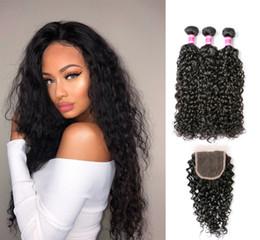 virgin brazilian wavy hair weave 2019 - Brazilian Water Wave Hair 3 Bundles with Swiss Lace Closure Free Part Ocean Wave Wet & Wavy Bundle Deals Human Hair Weav