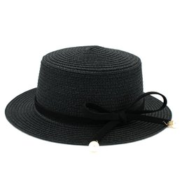 b7434d587c2 Boater Hat Straw Hat Party Wedding Beach Flat Top Caps Acrylic Beads Wool  Band (One Size 58cm)