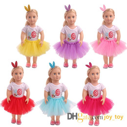 T Shirts Style Australia - Summer T Shirt Mesh Skirt with Rabbit Bunny Hairpin Doll Dress Cloth for 18 inch Doll American Girl Doll