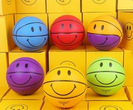 Мода смайлик Нью-Йорк Чайнатаун рынок баскетбол размер 7 красочные улыбка лицо крытый открытый обучение игры баскетбольный мяч