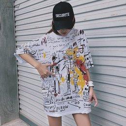 Korean cap fashion online shopping - Korean Lattice Big Size Long T Shirt Fashion Summer Casual Loose Harajuku Tops Tee Black White Stitching Street Women T shirts