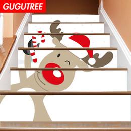 $enCountryForm.capitalKeyWord NZ - Decorate Home 3D Christmas deer cartoon art wall Stair sticker decoration Decals mural painting Removable Decor Wallpaper G-658