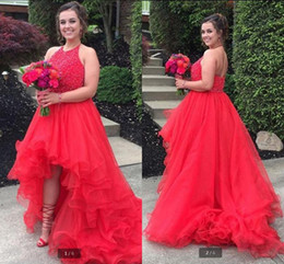 Hi Low Tulle Prom Dresses Australia - High Low Halter Prom Dresses Beading Sequins Ruffles Tulle prom Dress Young Girls Formal Wear A Line Backless prom gowns best selling party