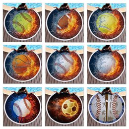 Wholesale retail colors baby blanket microfiber football fire printed round Tassel Beach towel Play Mat designer weighted blanket Shawl Picnic Rugs