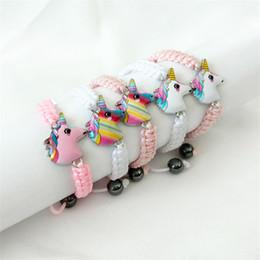 bracelets cute animal 2019 - 5 styles New unicorn Knitting bracelet Kids Animals accessories Baby girl Cute jewelry Pendant Chain gift for Children D