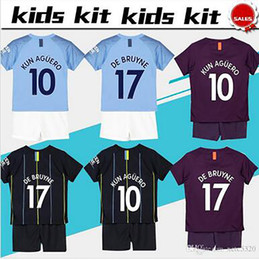 Chinese  2019 Kids Kit City Home Soccer Jersey 18 19 Third Football Suits #10 KUN AGUERO #17 DE BRUYNE Away Black Child Soccer Shirts manufacturers