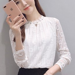 661a16eef7 Women clothing New 2019 fashion plus size women's shirts Long sleeve white  Lace blouse shirt crochet spring hollow out blusas 1E