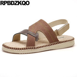 mens designer summer casual shoes UK - Designer Shoes Mens Sandals 2018 Summer Outdoor Fisherman Flat Casual Fashion Strap Open Toe Espadrilles Brown Japanese Rope