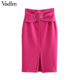 583382705e wholesale women high waist solid midi skirt faldas mujer back zipper sashes  decorate split office lady chic mid calf skirts BA378