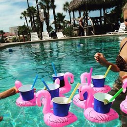 Wholesale Pool Toys Sale Australia - Inflatable Flamingo Drinks Cup Holder Pool Floats Bar Coasters Floatation Devices Children Bath Toy small size Hot Sale