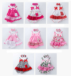 Wholesale INS babies floral Chevron clothing set Camouflage Leopard toddler infant vintage outfits suspender tops tutu shorts headband suit