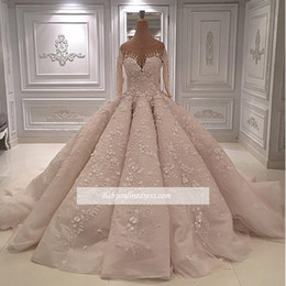 Train sTrap online shopping - Luxury D Floral Applique Wedding Dresses With Long Sleeves Jewel Neckline Bridal Ball Gown Court Train Tulle Beaded Bride Dress