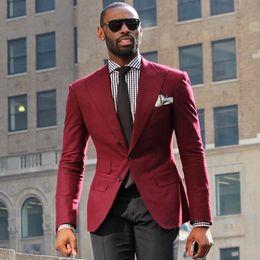 $enCountryForm.capitalKeyWord Australia - Costume Homme Mariage Wine Red men suit blazer Men's Terno Slim Fit Blaser Masculino Vintage Wedding Suits for Men (jacket+pant)