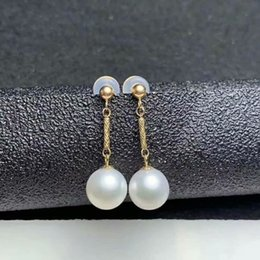 Freshwater pearl drop earrings online shopping - shilovem k yellow Natural freshwater pearls Drop Earrings fine Jewelry women trendy anniversary Christmas gift myme8 zz