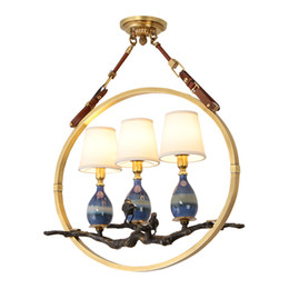 $enCountryForm.capitalKeyWord Australia - American retro copper led pendant lamps fabric lampshade dinning room ceramic pendant lighting retro pendant chandeliers lights fixtures